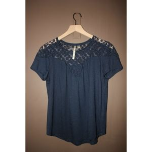 Embroidered blouse navy blouse with mesh S